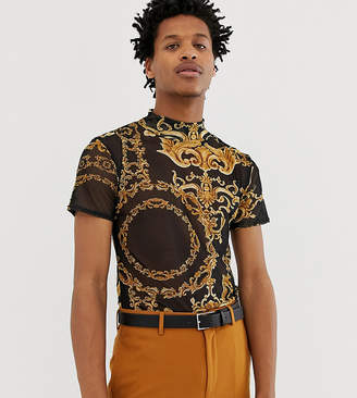 Reclaimed Vintage inspired mesh t-shirt with baroque print