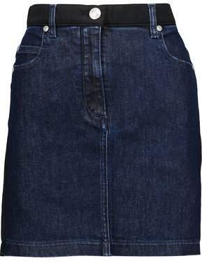 Pierre Balmain Satin Twill-Trimmed Denim Mini Skirt