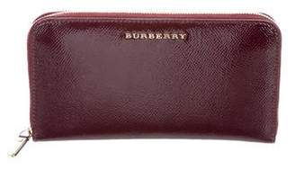 Burberry Elmore Patent Leather Zip Around Wallet