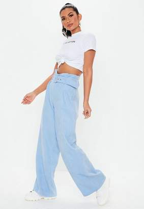 Missguided Blue Paperbag Waist Cord Wide Leg Trousers, Blue