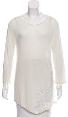 Les Copains Lace-Accented Semi-Sheer Top w/ Tags