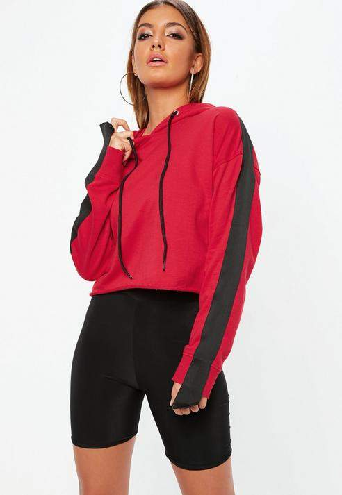 Tall Red Tape Detail Cropped Hoodie
