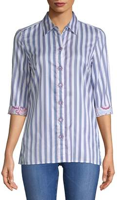 Robert Graham Women's Tori Striped Cotton Button-Down Shirt
