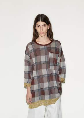 Acne Studios Beah Check Tunic Top Burgundy Check