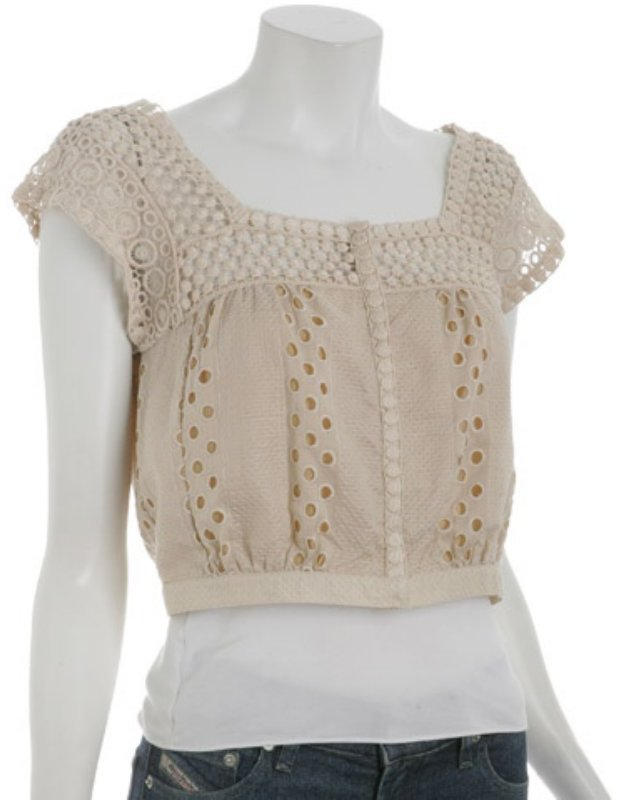 Nanette Lepore cream eyelet 'Daddy-O' cropped blouse