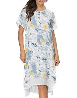 Clarity by threadz Print Overlay Short Sleeve Dress