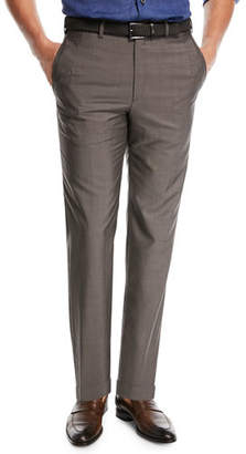 Brioni Phi Flat-Front Wool/Mohair Trousers