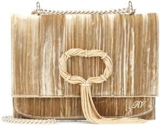 Roger Vivier Club Chain velvet clutch