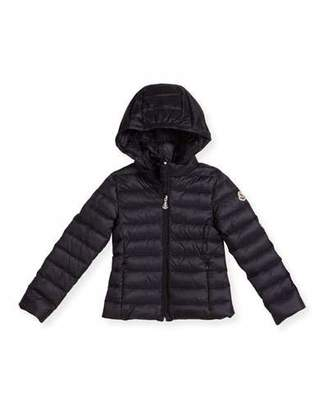 Moncler Iraida Hooded Lightweight Down Puffer Jacket, Size 4-6