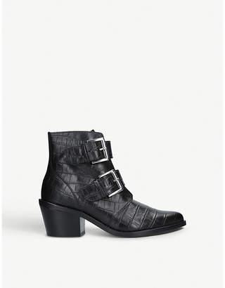 Kurt Geiger London Denny crocodile-embossed leather ankle boots