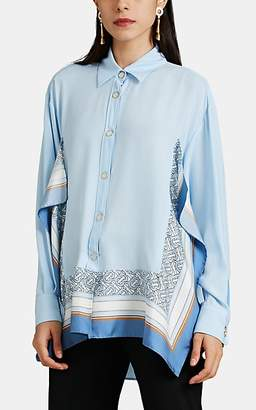 Burberry Women's Scarf-Accented Silk Crêpe De Chine Blouse - Blue