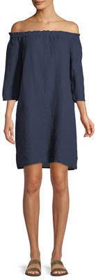 Allen Allen Off-The-Shoulder 3/4 Sleeve Linen Dress