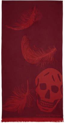 Alexander McQueen Red Oversized Skulls Scarf