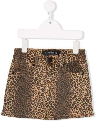 John Richmond Junior leopard print denim skirt