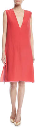 Agnona Sleeveless Deep-V Silk Crepe de Chine Double-Layer Dress
