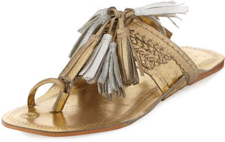 Figue Scaramouche Leather Tassel Sandal, Gold