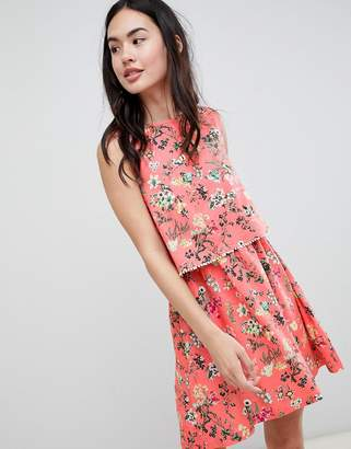 Brave Soul Celeste Double Layer Floral Dress with Pom Pom Trim