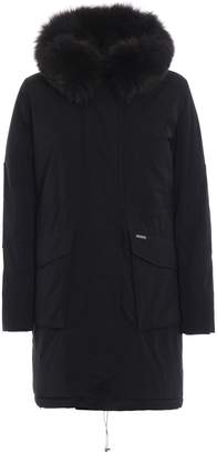Woolrich Military Parka Fox Fur Trim Black Padded Coat
