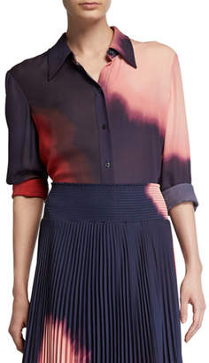 A.L.C. Jayne Ombre Silk Button-Up Top