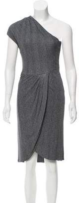 Michael Kors One-Shoulder Herringbone Dress