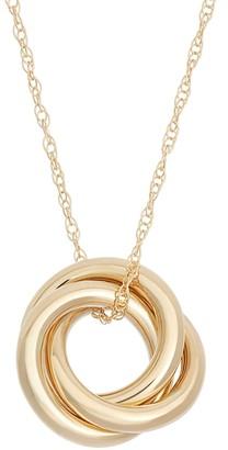 14k Gold Interlocking Circle Pendant Necklace