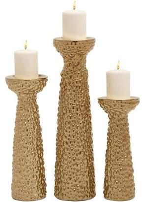 DecMode Decmode Ceramic Gold Candleholder, Set of 3, Gold
