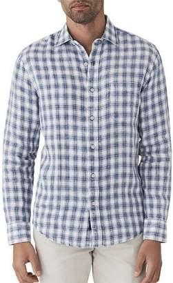Faherty Men's Ventura Plaid Linen Shirt