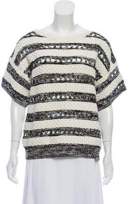 Oscar de la Renta Heavyweight Silk Striped Sweater