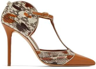 Malone Souliers BY ROY LUWOLT Imogen T-bar snakeskin and leather pumps