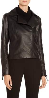 St. John Luxe Nappa Leather Moto Jacket