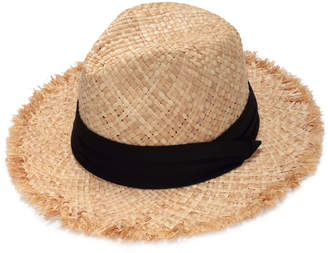 Justine Hats Straw Fedora with Black Band