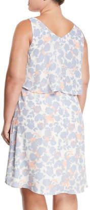 Bobeau Lane Floral-Print Tiered-Chiffon V-Neck Dress, Plus Size