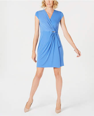Charter Club Petite Faux-Wrap Dress