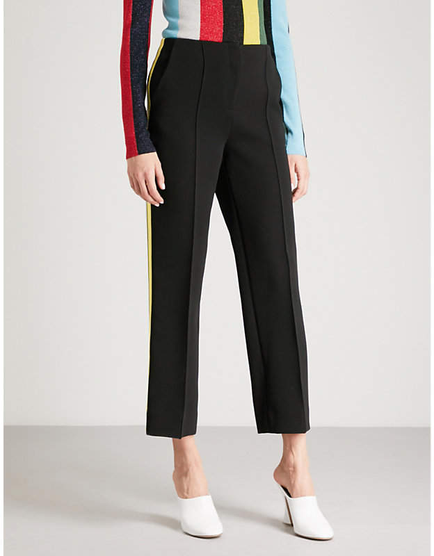 Side-stripe straight crepe trousers