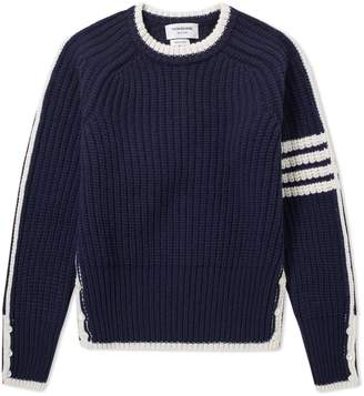 Thom Browne 4 Bar Stripe Rib Merino Crew Knit