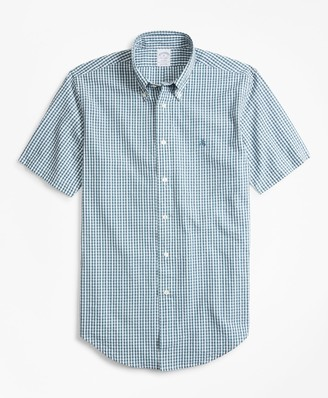 Brooks Brothers Regent Fit Gingham Seersucker Short-Sleeve Sport Shirt