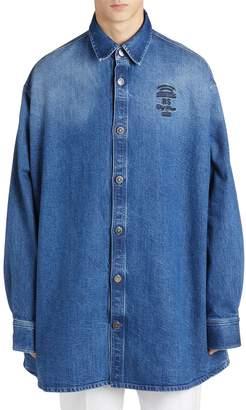 Raf Simons Embroidered Cotton Blend Denim Shirt