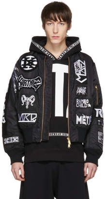 Kokon To Zai Black Alpha Industries Edition Seventeen White Patches Bomber Jacket