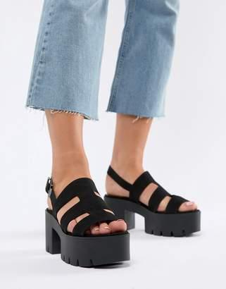 Bershka chunky sole multi strap sandal in black