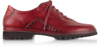 Pakerson Red Italian Hand Made Leather Lace-up Shoes