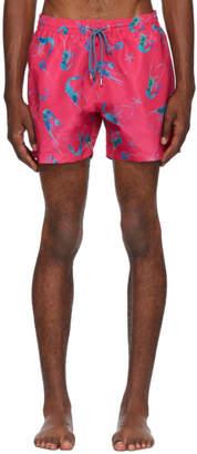 Paul Smith Pink Shrimp Print Swim Shorts