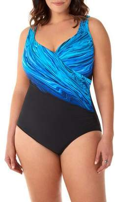 Miraclesuit Plus Size It's A Wrap Printed One-Piece Swimsuit