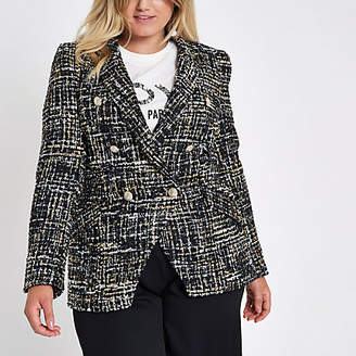 River Island Plus black boucle double-breasted jacket