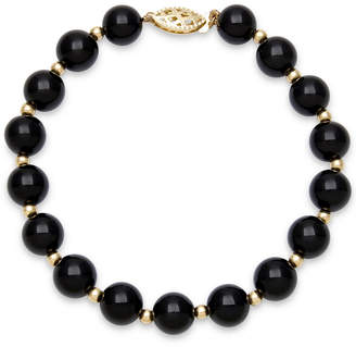 Macy's Faceted Onyx Bead Bracelet (3mm) in 10k Gold