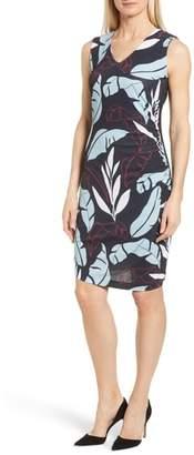 BOSS Erea Tropical Ruched Sheath Dress