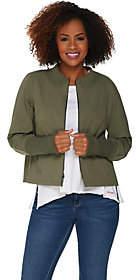Peace Love World Zip Front Nylon Jacket withPeplum Back