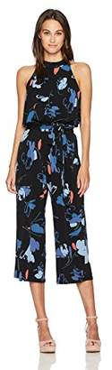 Nine West Women's Undone Floral Mid-Calf Jersey Jumpsuit with Self Sash