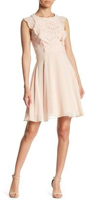 Nanette Lepore NANETTE Chiffon Ruffle Lace Dress
