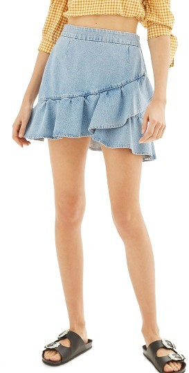 TopshopWomen's Topshop Ruffle Denim Miniskirt