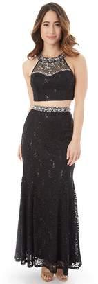 Iz Byer Juniors' Sequin Lace Halter 2-Piece Prom Dress
